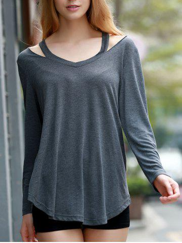 Best Stylish V-Neck Long Sleeve Hollow Out Asymmetrical T-Shirt For Women