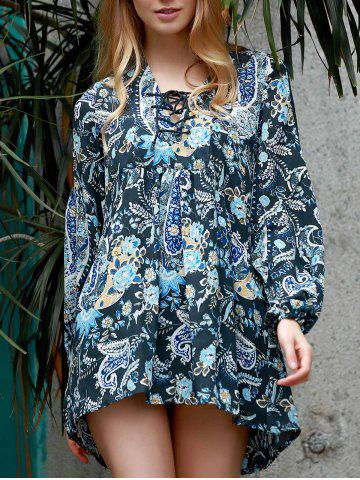 Hot Stylish V-Neck Long Sleeve Paisley Asymmetrical Dress For Women