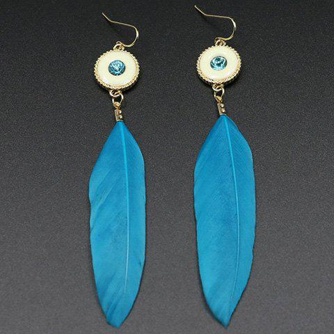 Sale Fake Gem Feather Drop Earrings BLUE