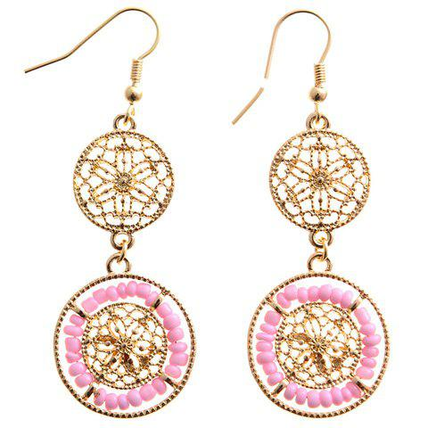 Discount Pair of Chic Beads Hollow Out Drop Earrings For Women