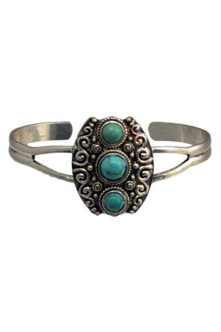Unique Chic Turquoise Hollow Out Alloy Ring For Women SILVER