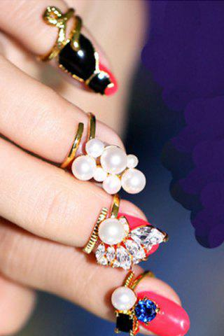 Sale Chic Rhinestone Faux Pearl Cat Alloy Rings For Women
