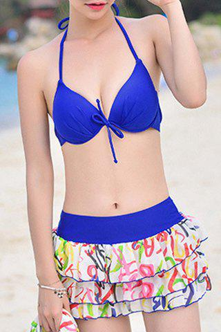 Latest Fashionable Halterneck Letter Print Four-Piece Swimsuit For Women