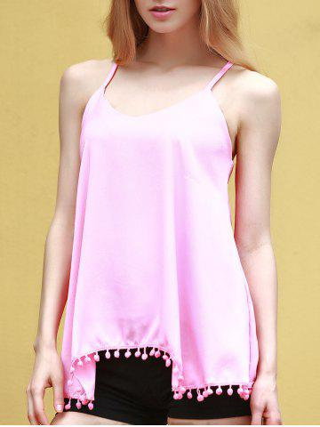 Online Endearing Solid Color Pendant Design Chiffon Tank Top For Women