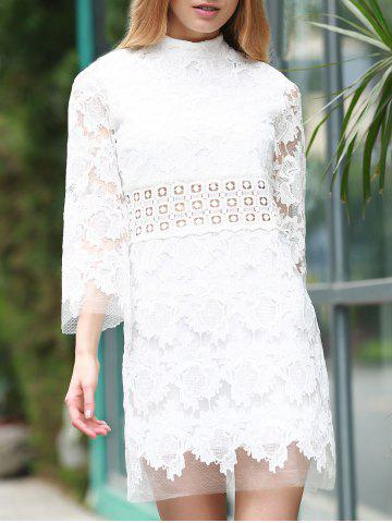 Outfits Stylish Stand Collar 3/4 Sleeve Lace Dress For Women