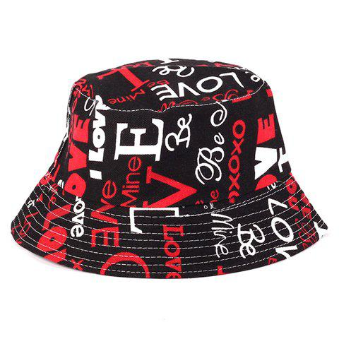 Unique Chic White and Red Letters Printed Flat Top Bucket Hat For Women