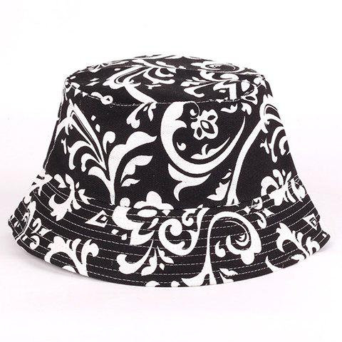 Discount Chic White Handpainted Arabesque Pattern Flat Top Bucket Hat For Women