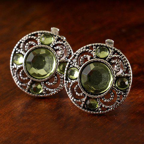 Buy Pair of Chic Artificial Gem Hollow Out Clip Earrings For Women GREEN