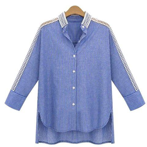 Unique Casual Striped Cut Out Raglan Sleeve Asymmetric Shirt For Women