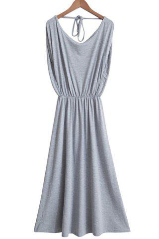 Unique Casual Gray Sleeveless Elastic Waist Pleated Backless Maxi Dress For Women