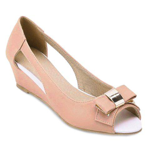 Discount Sweet Bow and Wedge Heel Design Peep Toe Shoes For Women