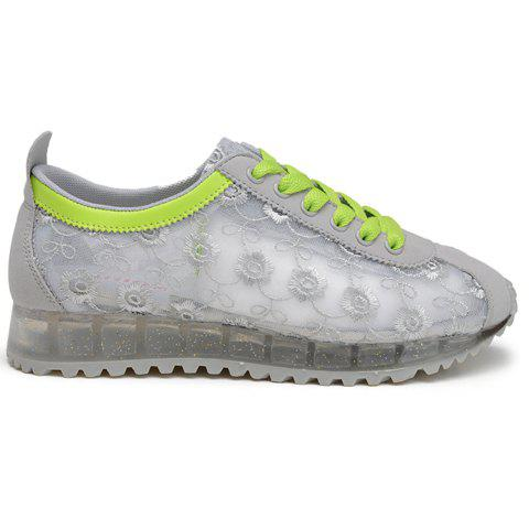 Unique Trendy Colour Block and Embroidery Design Athletic Shoes For Women - 39 LIGHT GRAY Mobile