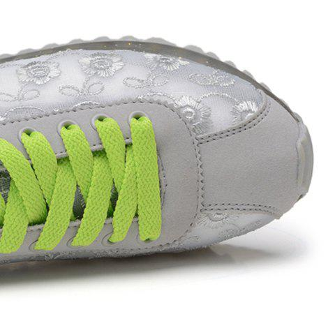 Fashion Trendy Colour Block and Embroidery Design Athletic Shoes For Women - 39 LIGHT GRAY Mobile