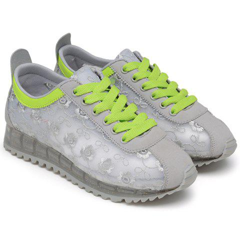 Buy Trendy Colour Block and Embroidery Design Athletic Shoes For Women - 39 LIGHT GRAY Mobile