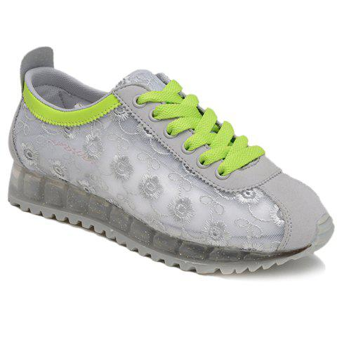 Fancy Trendy Colour Block and Embroidery Design Athletic Shoes For Women - 39 LIGHT GRAY Mobile