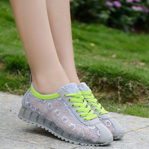 Trendy Trendy Colour Block and Embroidery Design Athletic Shoes For Women - 39 LIGHT GRAY Mobile