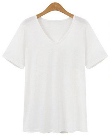Fancy Stylish V-Neck Short Sleeve Loose-Fitting T-Shirt For Women
