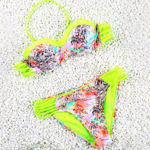 Fashion Vintage Halter Hollow Out Flower Print Bikini Set For Women