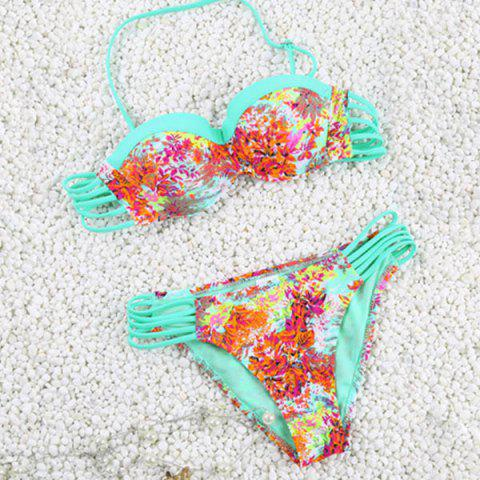 Shop Vintage Halter Hollow Out Flower Print Bikini Set For Women LAKE GREEN S