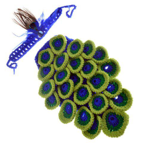 Discount Hot Sale Manual Wool Crochet Peacock Design Baby Clothes with Headband COLORMIX