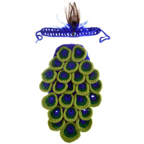 Affordable Hot Sale Manual Wool Crochet Peacock Design Baby Clothes with Headband - COLORMIX  Mobile