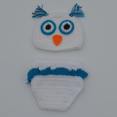 Chic Quality Newborn Wool Knitting Owl Design Baby Costume Hat+Shorts Suits - WHITE