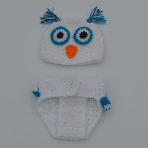 Outfit Chic Quality Newborn Wool Knitting Owl Design Baby Costume Hat+Shorts Suits - WHITE  Mobile