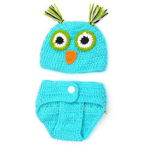 Chic Quality Newborn Wool Knitting Owl Design Baby Costume Hat+Shorts Suits - Blue