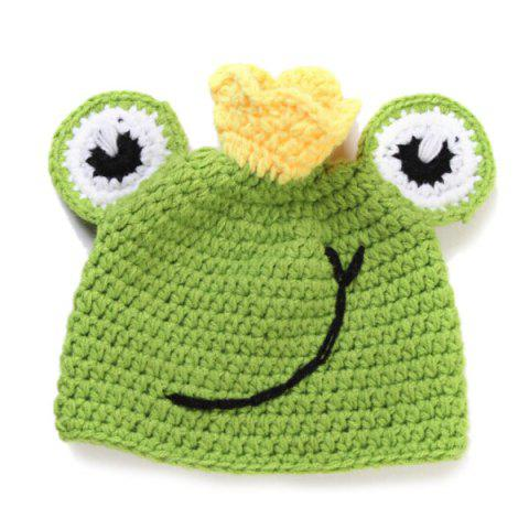 Best High Quality Handmade Crochet Knit Cap Green Frog Hat+Lotus Leaf Blanket Baby Costume Set - GREEN  Mobile