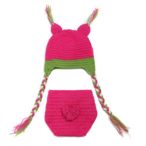 Sale Sweet Owl Shape Handmade Crochet Knitted Beanie Hat and Shorts Set Baby Clothes - ROSE  Mobile