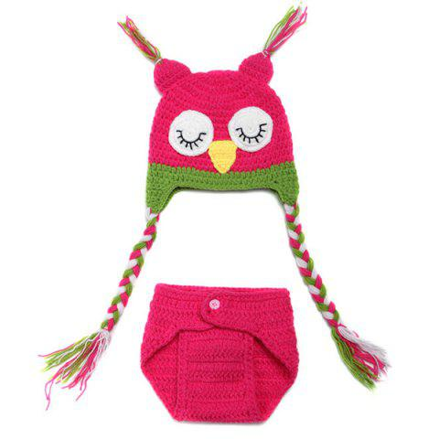 Shops Sweet Owl Shape Handmade Crochet Knitted Beanie Hat and Shorts Set Baby Clothes ROSE