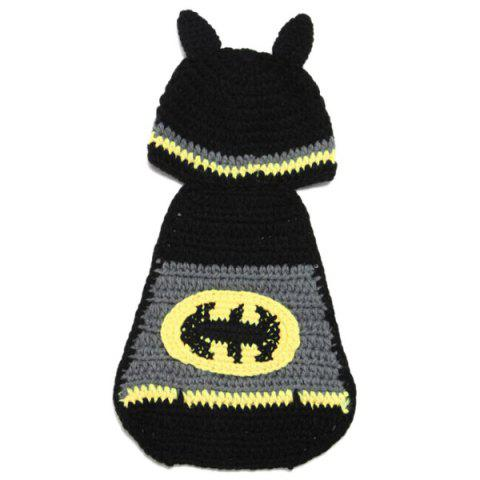 High Quality Hand Knitting Photography Bat Shape Baby Clothes Suits - BLACK