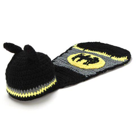 Discount High Quality Hand Knitting Photography Bat Shape Baby Clothes Suits - BLACK  Mobile
