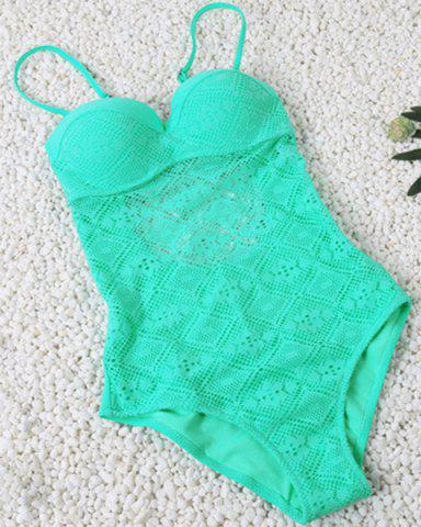 Chic Spaghetti Strap Hollow Out Lace Swimsuit LAKE GREEN S