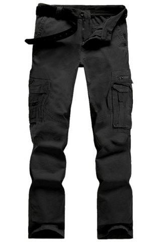 Shop Casual Solid Color Multi-Pocket Straight Zipper Fly Straight Leg Cargo Pants For Men BLACK 28