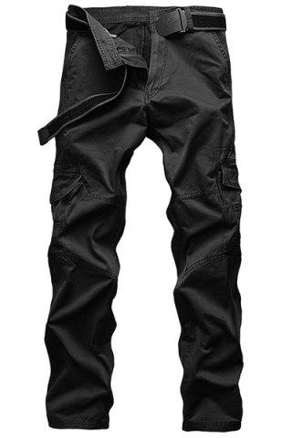 Affordable Laconic Straight Leg Multi-Pocket Solid Color Zipper Fly Cargo Pants For Men