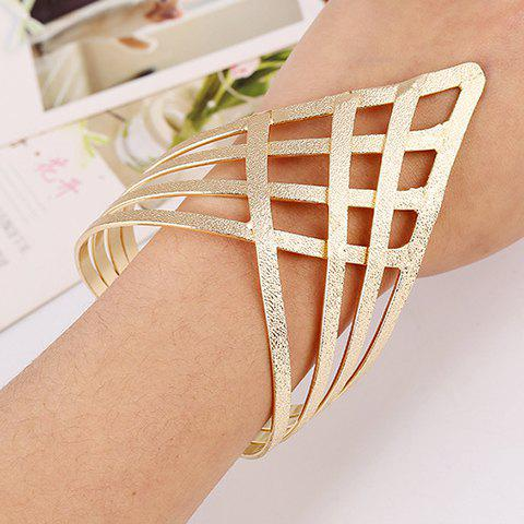 Shop Frosted Grid Hollow Out Gold Plated Cuff Bracelet GOLDEN