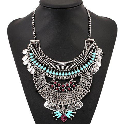 Fashion Chic Artificial Gem Water Drop Carving Necklace For Women