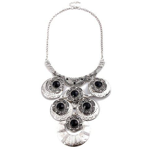 New Artificial Gem Flowers Round Necklace - SILVER  Mobile