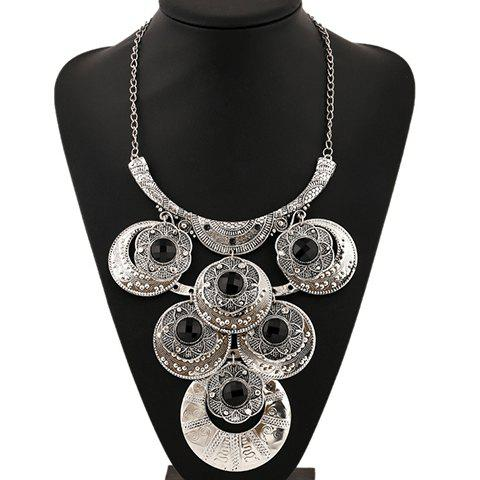 Shops Artificial Gem Flowers Round Necklace - SILVER  Mobile