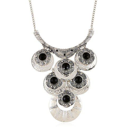Outfits Artificial Gem Flowers Round Necklace - SILVER  Mobile