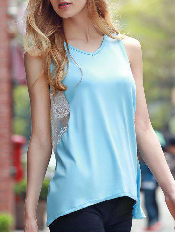 Fancy Chic V Neck Sleeveless Lace Design Women's Tank Top