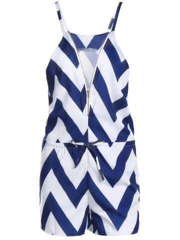 Store Women's Stylish V-Neck Zig Zag Sleeveless Romper