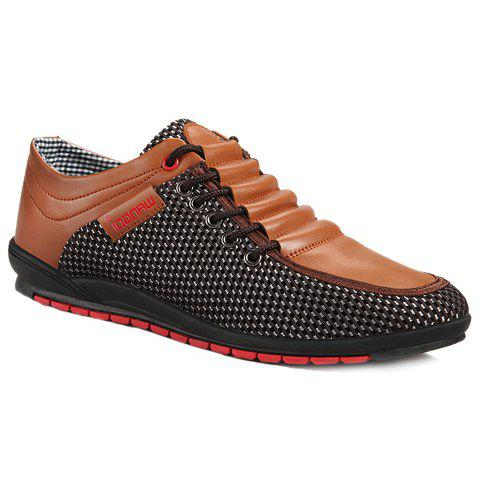 Shop Fashionable Splicing and Colour Block Design Casual Shoes For Men BROWN 41