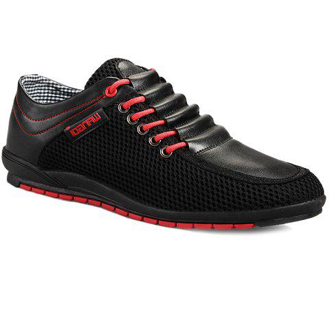 Buy Fashionable Splicing and Colour Block Design Casual Shoes For Men BLACK 39