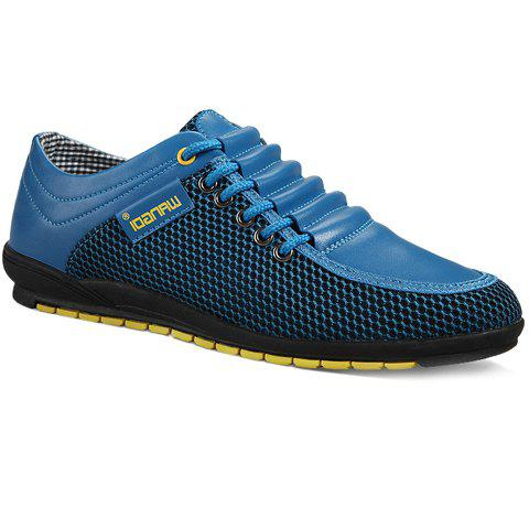 Shop Fashionable Splicing and Colour Block Design Casual Shoes For Men BLUE 44
