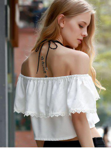 Sweet Off-The-Shoulder Lace Hem White Crop Top For Women от Rosegal.com INT