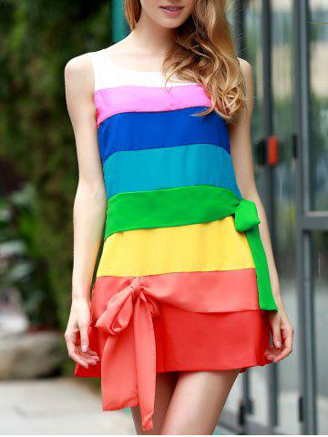 Latest Stylish Scoop Neck Sleeveless Colored Dress For Women
