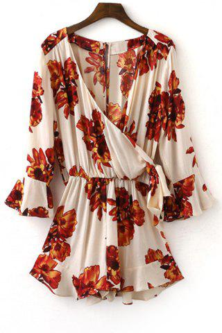 Trendy Tie Side Floral Romper with Sleeves