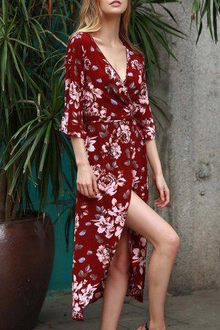 Plunging Neck 3/4 Sleeve Floral Print Women's Dress - Wine Red - S